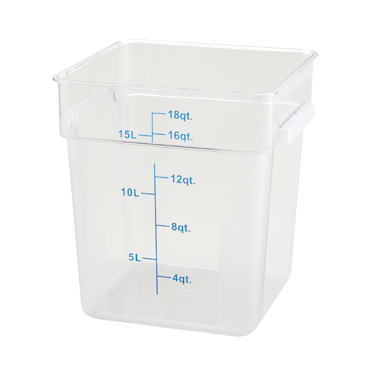 "Storage Container 18 qt. Square Clear Polycarbonate 11-1/8"" x 12-5/8"" x 12-1/2""H"