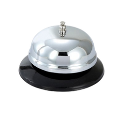 "Call Bell Round Plastic Base Chrome Plated 4"" Diameter"