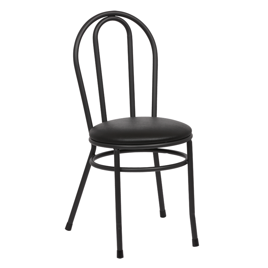 Royal Industries Hairpin Back Steel Frame Black Vinyl Side Chair