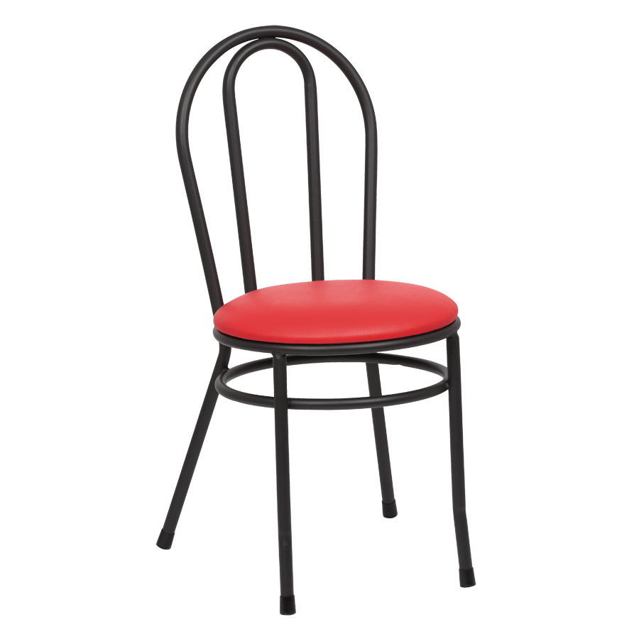 Royal Industries Hairpin Back Steel Frame Red Vinyl Side Chair