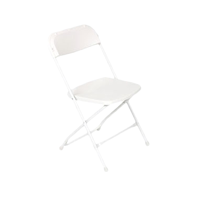 Royal Industries Steel Framed Plastic Seat & Back White Folding Chair Back