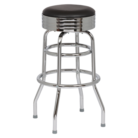 Royal Industries Classic Dinner Black Vinyl Bar Stool Backless With Double Ring Base