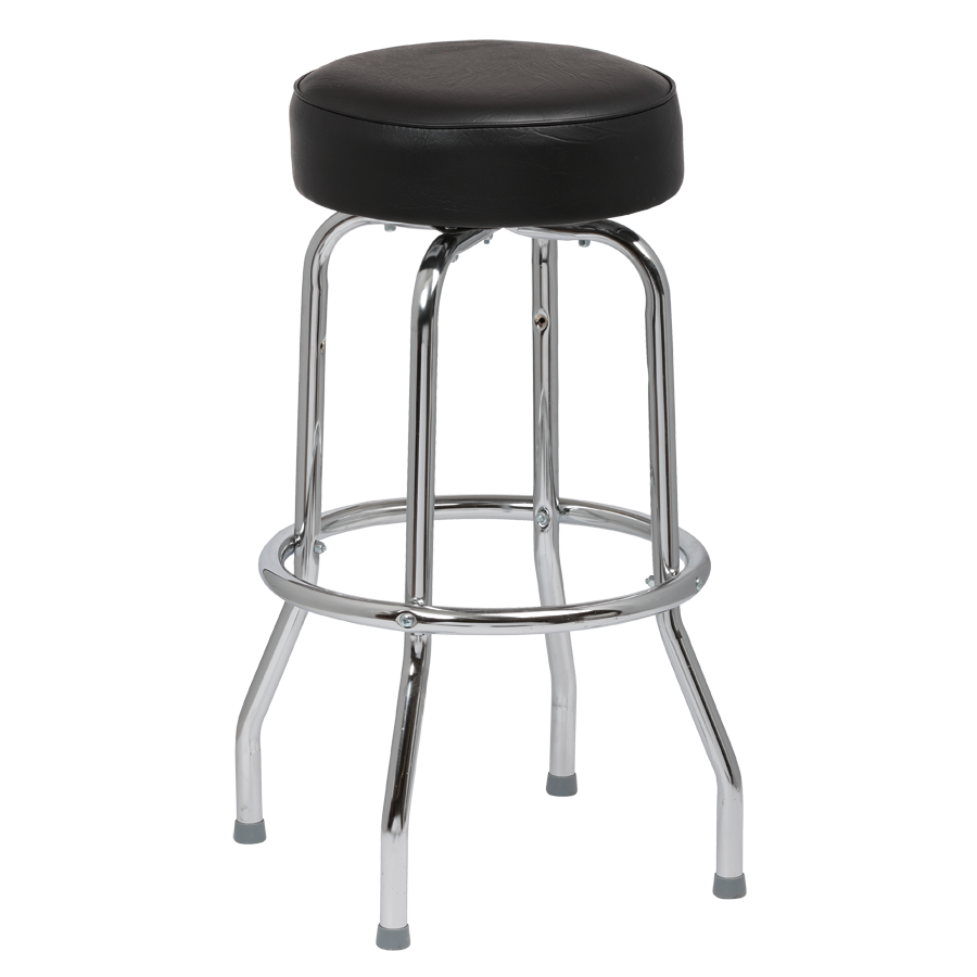 Royal Industries Classic Dinner Black Vinyl Bar Stool Backless With Single Ring Base