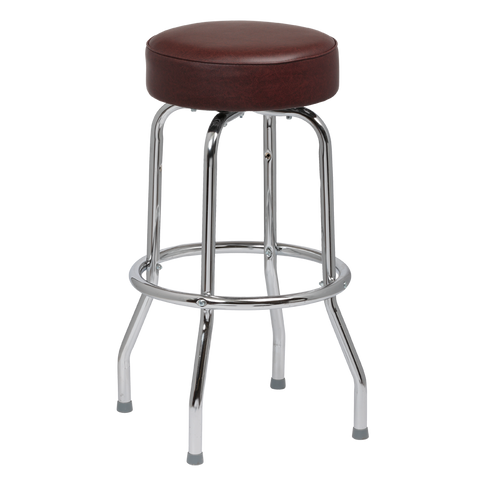 Royal Industries Classic Dinner Black Brown Bar Stool Backless With Single Ring Base