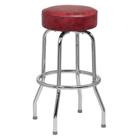 Royal Industries Classic Dinner Black Crimsom Bar Stool Backless With Single Ring Base