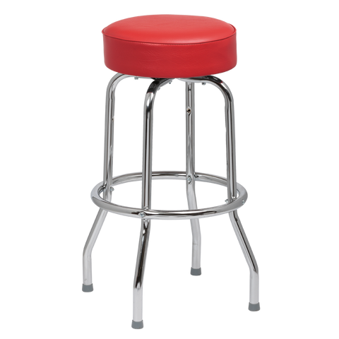 Royal Industries Classic Dinner Red Vinyl Bar Stool Backless With Single Ring Base