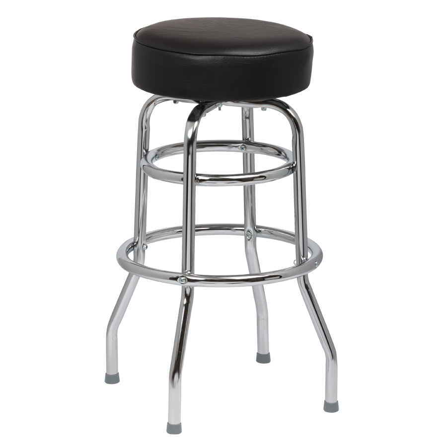 Royal Industries Classic Dinner Heavy-Duty Black Vinyl Bar Stool Backless With Double Ring Base