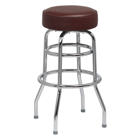 Royal Industries Classic Dinner Brown Vinyl Bar Stool Backless With Double Ring Base