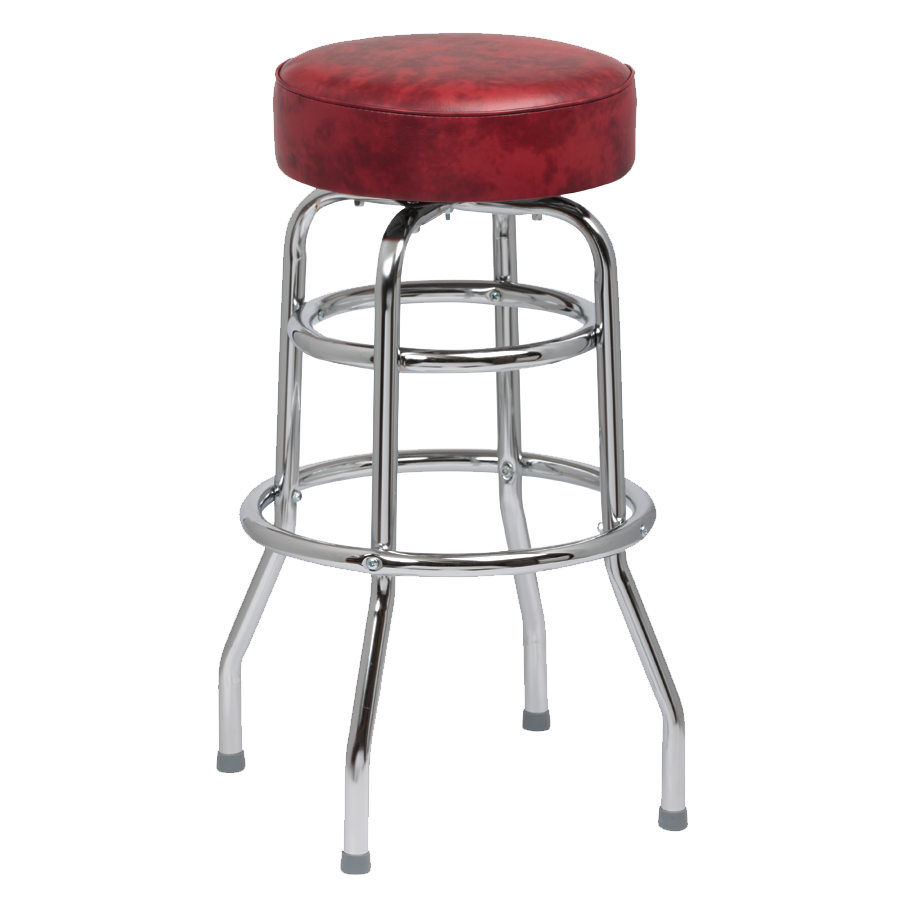 superior-equipment-supply - Royal Industries - Royal Industries Classic Dinner Crimson Vinyl Bar Stool Backless With Double Ring Base