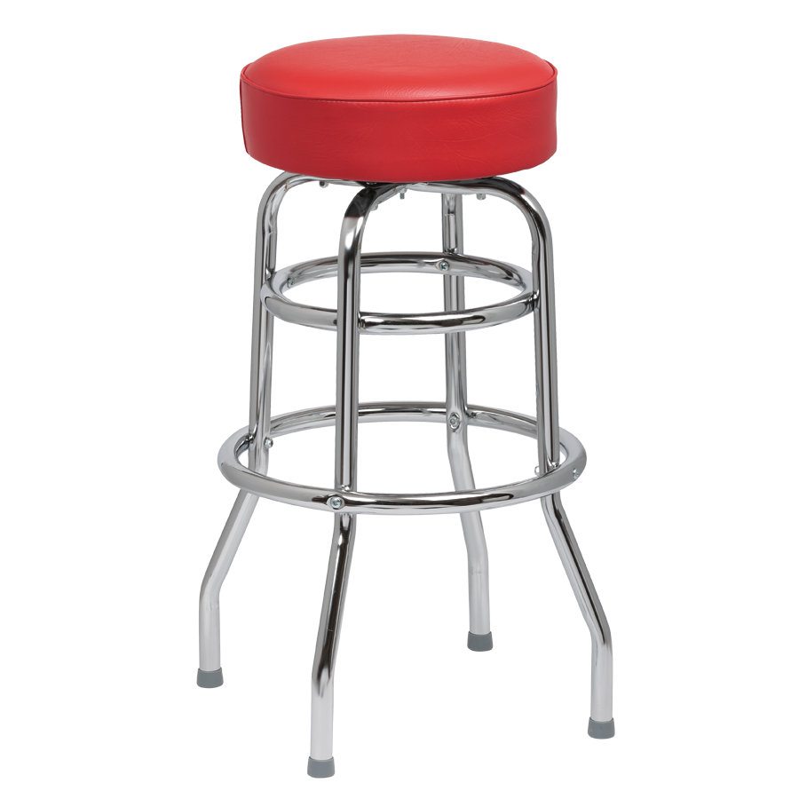 Royal Industries Classic Dinner Crimson Vinyl Bar Stool Backless With Double Ring Base