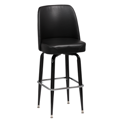Royal Industries High Back Foam Padded Seat Black Vinyl Bar Stool With Single Ring Base