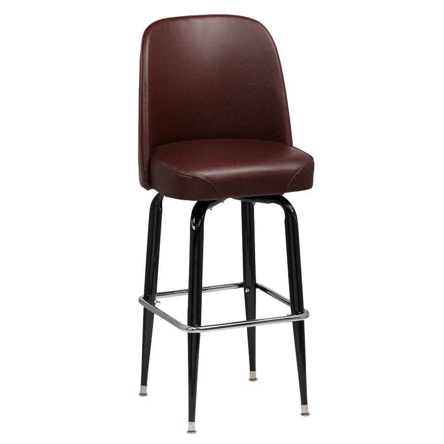 Royal Industries High Back Foam Padded Seat Brown Vinyl Bar Stool With Single Ring Base