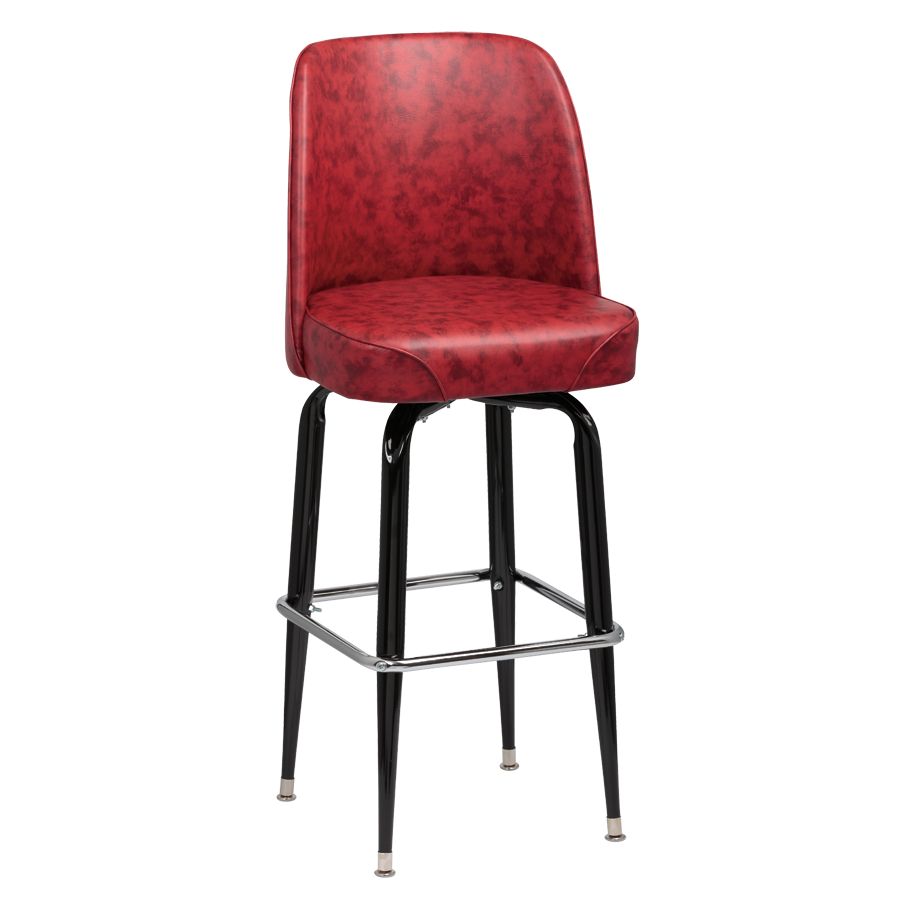 superior-equipment-supply - Royal Industries - Royal Industries High Back Foam Padded Seat Crimson Vinyl Bar Stool With Single Ring Base