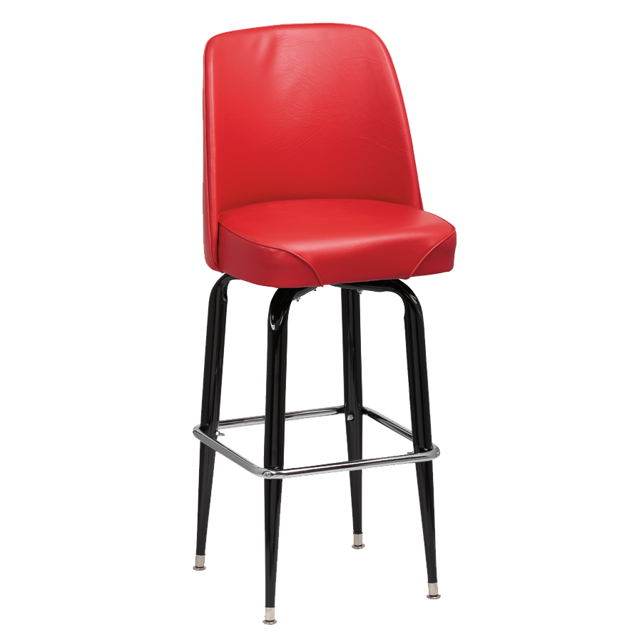 Royal Industries High Back Foam Padded Seat Red Vinyl Bar Stool With Single Ring Base