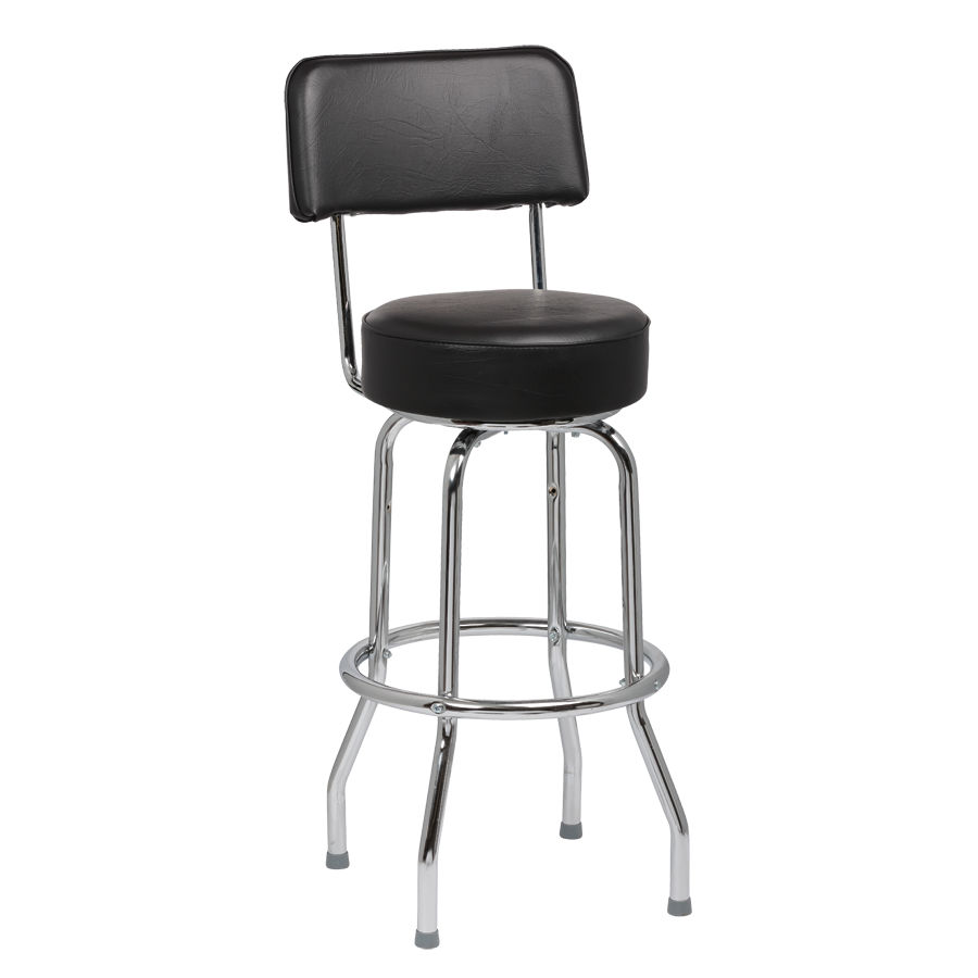 "superior-equipment-supply - Royal Industries - Royal Industries Chrome Frame 4"" Thick Seat Black Vinyl Bar Stool With Single Ring Construction"