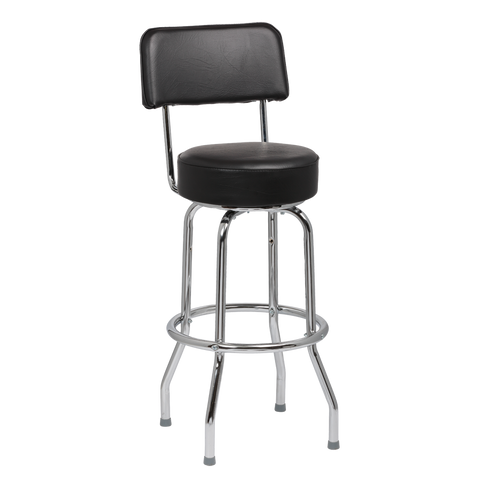 "Royal Industries Chrome Frame 4"" Thick Seat Black Vinyl Bar Stool With Single Ring Construction"
