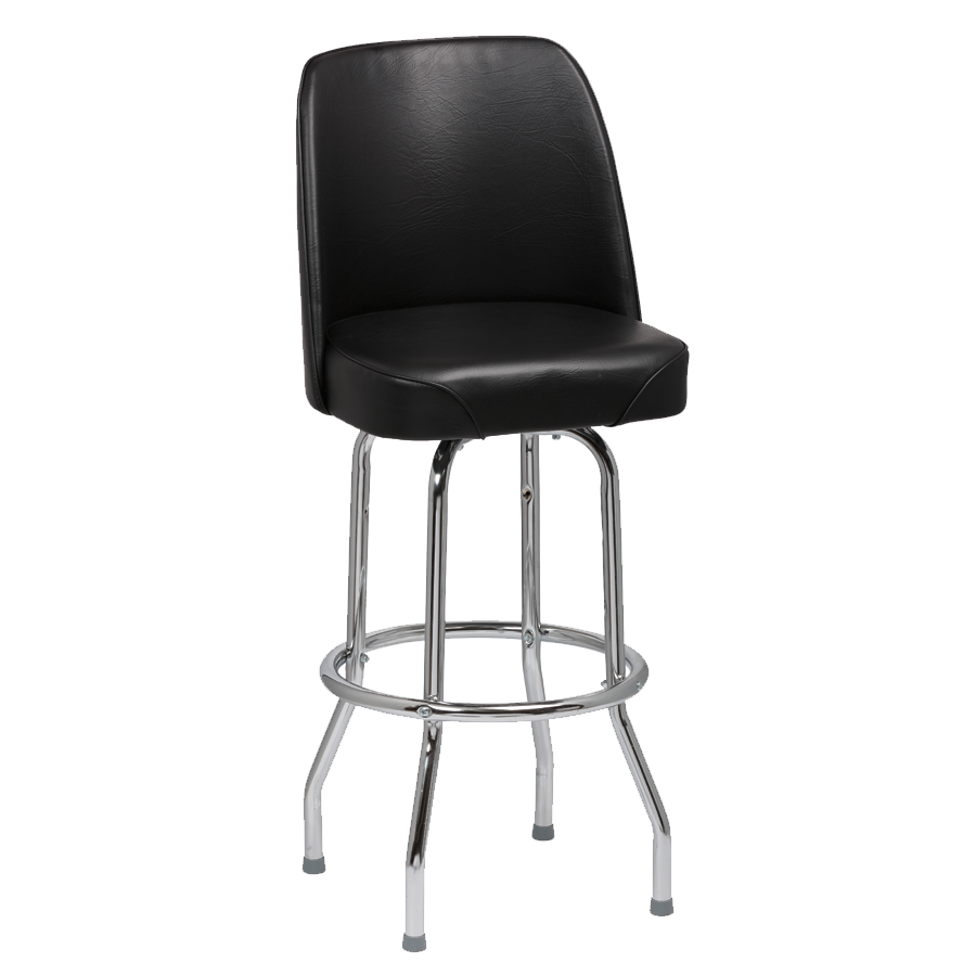 Royal Industries High Back Chrome Frame Black Vinyl Bar Stool With Single Ring Base