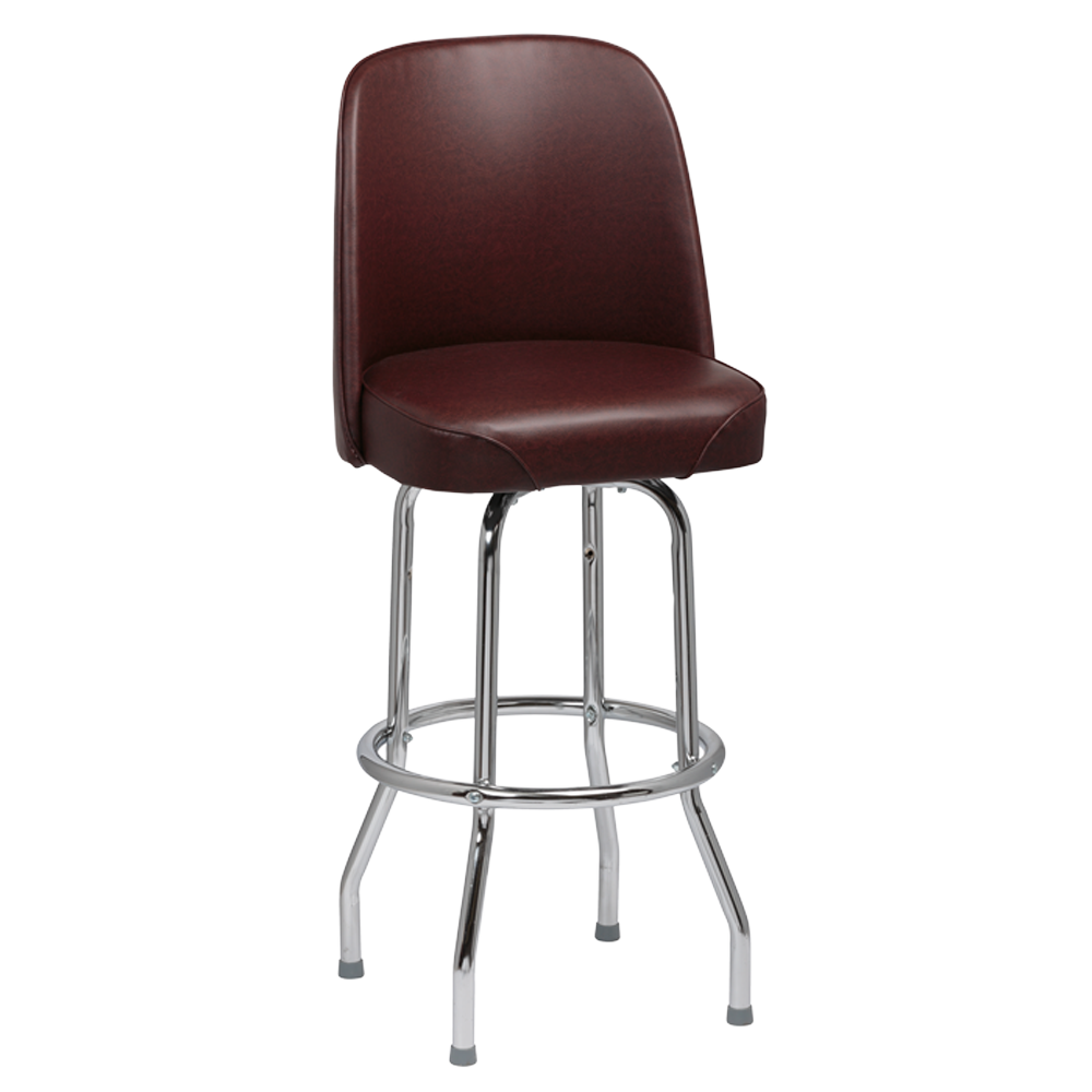 superior-equipment-supply - Royal Industries - Royal Industries High Back Chrome Frame Brown Vinyl Bar Stool With Single Ring Base