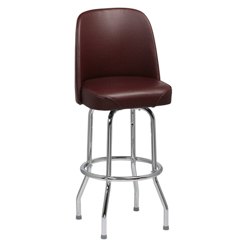 Royal Industries High Back Chrome Frame Brown Vinyl Bar Stool With Single Ring Base