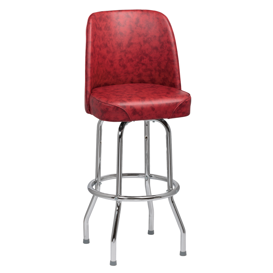 superior-equipment-supply - Royal Industries - Royal Industries High Back Chrome Frame Crimson Vinyl Bar Stool With Single Ring Base