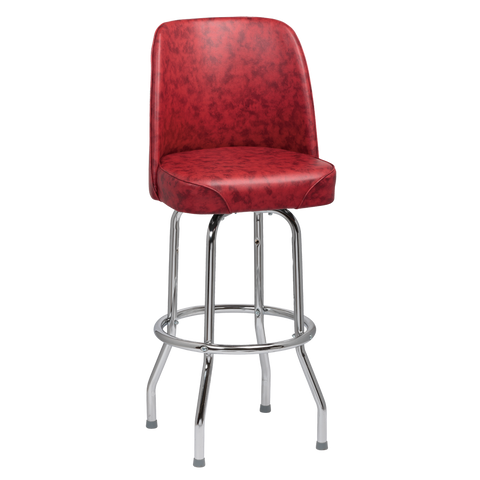 Royal Industries High Back Chrome Frame Crimson Vinyl Bar Stool With Single Ring Base