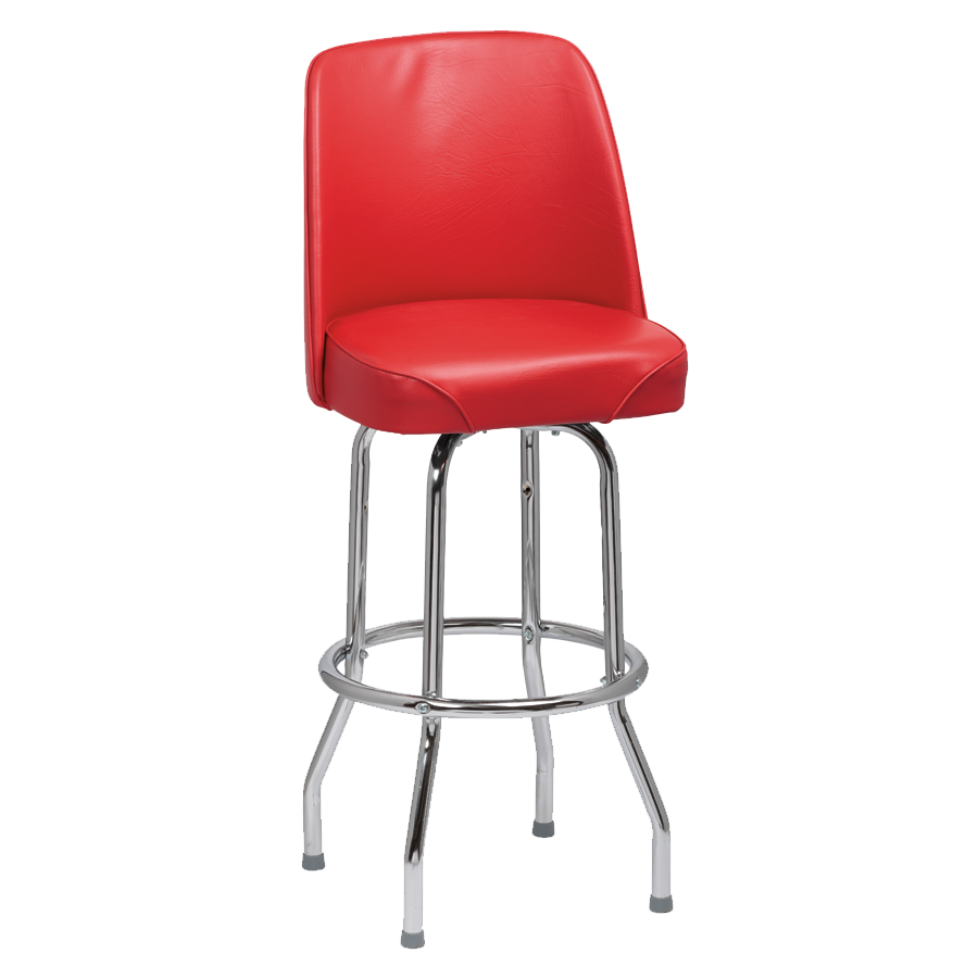 superior-equipment-supply - Royal Industries - Royal Industries High Back Chrome Frame Red Vinyl Bar Stool With Single Ring Base