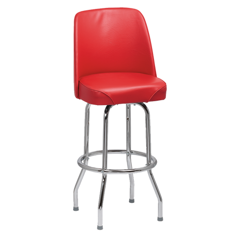 Royal Industries High Back Chrome Frame Red Vinyl Bar Stool With Single Ring Base