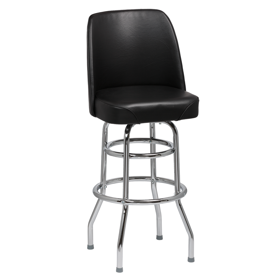 Royal Industries High Back Chrome Frame Black Vinyl Bar Stool With Double Ring Base
