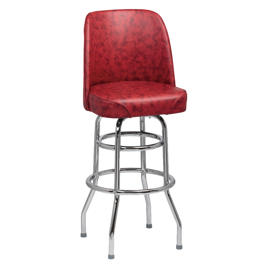 Royal Industries High Back Chrome Frame Crimson Vinyl Bar Stool With Double Ring Base