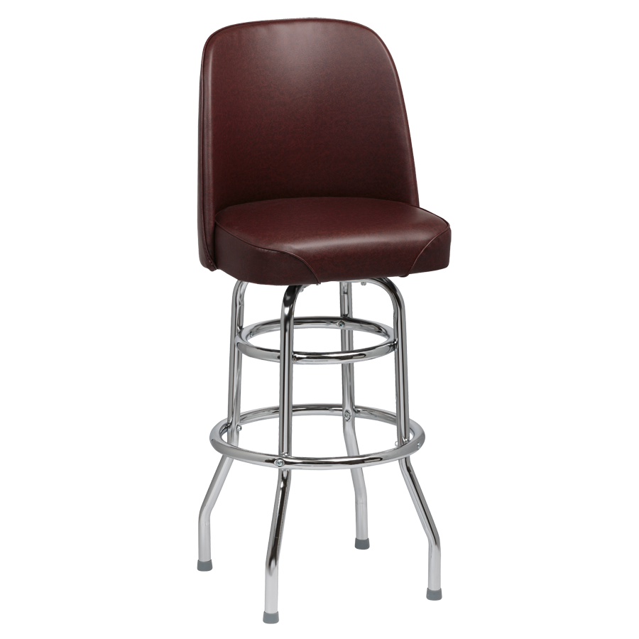 Royal Industries High Back Chrome Frame Brown Vinyl Bar Stool With Double Ring Base
