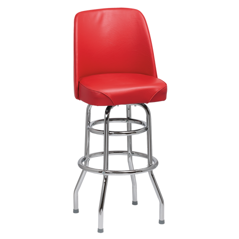 Royal Industries High Back Chrome Frame Red Vinyl Bar Stool With Double Ring Base