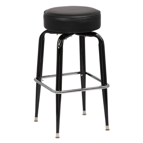 Royal Industries Backless Square Black Frame Black Vinyl Bar Stool With Single Chrome Ring