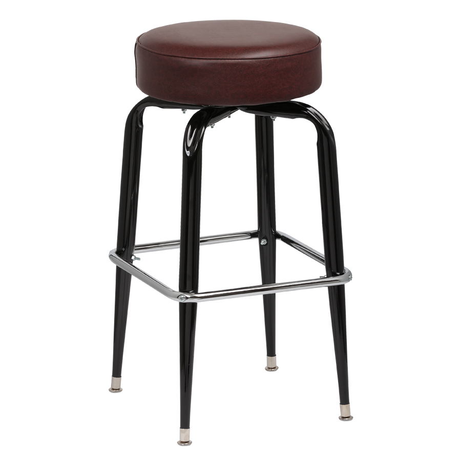 superior-equipment-supply - Royal Industries - Royal Industries Backless Square Black Frame Brown Vinyl Bar Stool With Single Chrome Ring