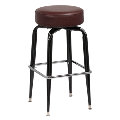 Royal Industries Backless Square Black Frame Brown Vinyl Bar Stool With Single Chrome Ring