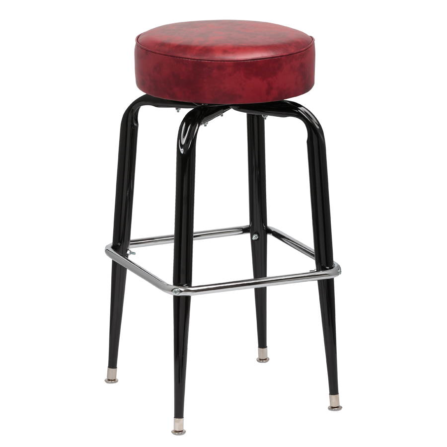 Royal Industries Backless Square Black Frame Crimson Vinyl Bar Stool With Single Chrome Ring