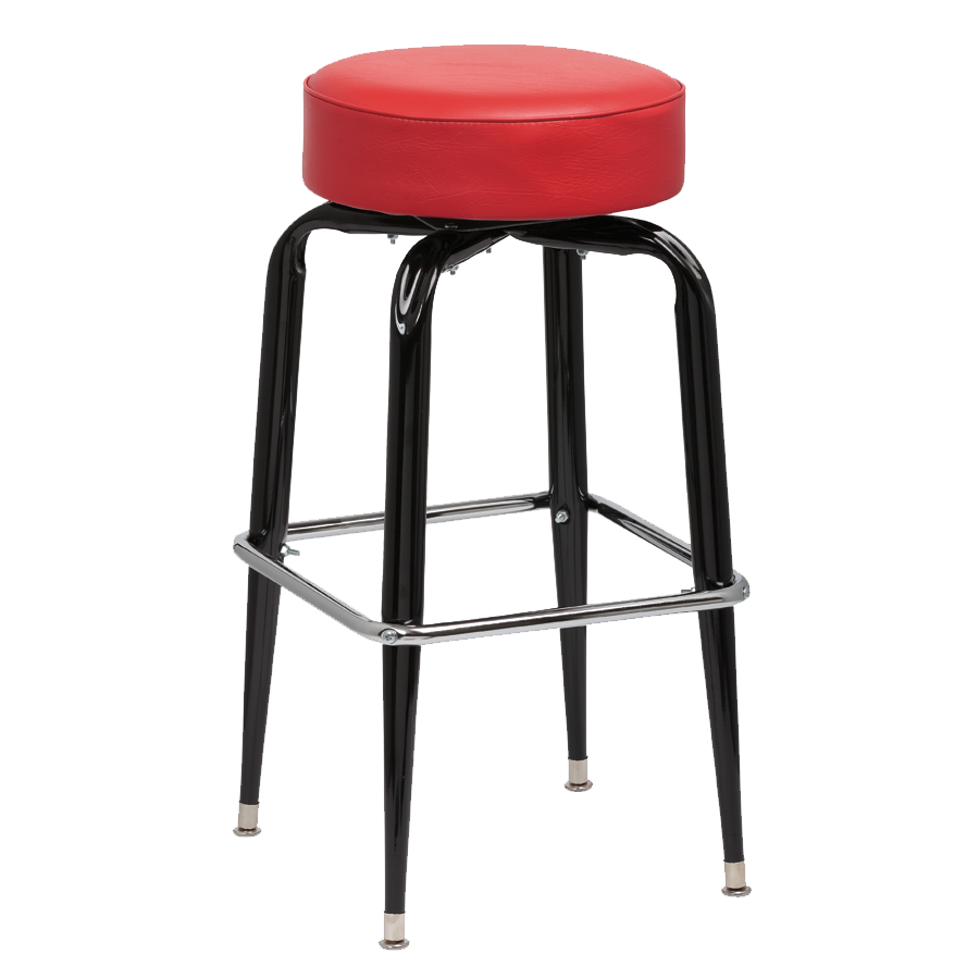 superior-equipment-supply - Royal Industries - Royal Industries Backless Square Black Frame Red Vinyl Bar Stool With Single Chrome Ring
