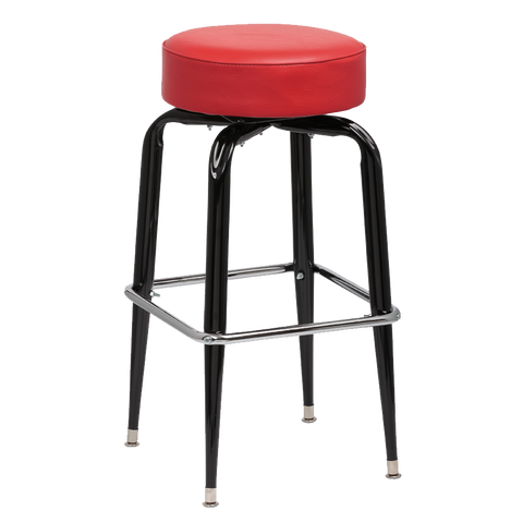 Royal Industries Backless Square Black Frame Red Vinyl Bar Stool With Single Chrome Ring