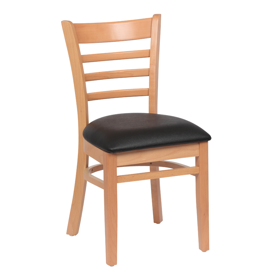 superior-equipment-supply - Royal Industries - Royal Industries Ladder Back Cushion Seat Natural Finish Black Vinyl Side Chair