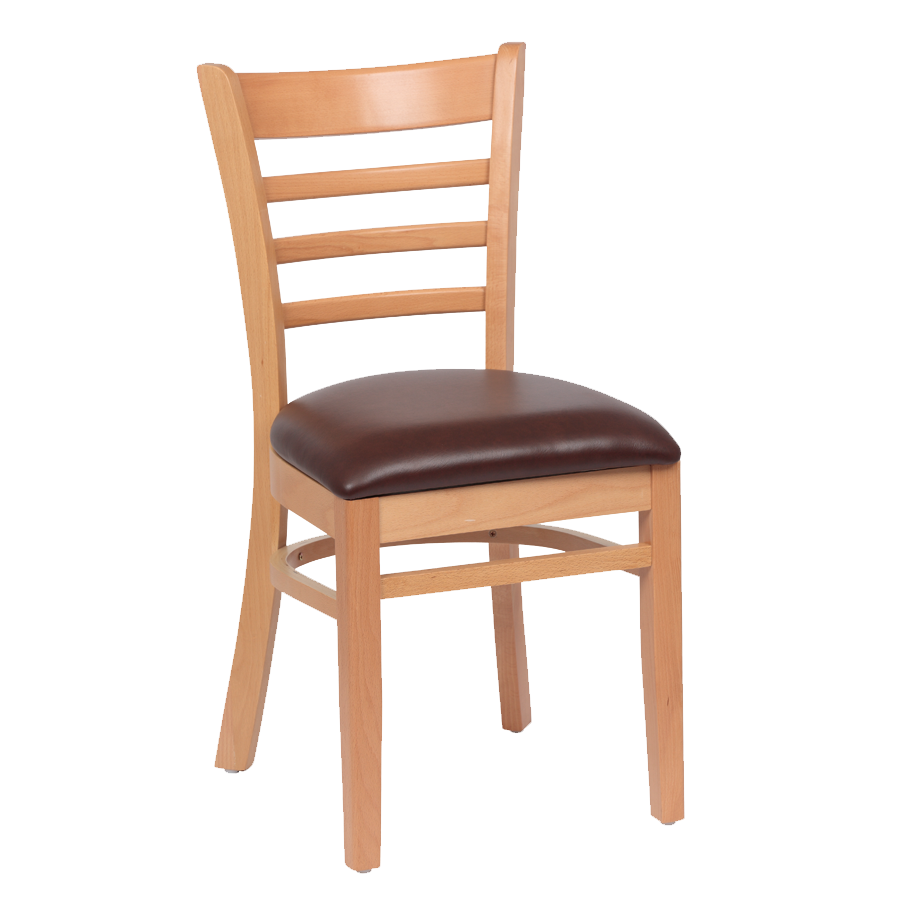 Royal Industries Ladder Back Cushion Seat Natural Finish Brown Vinyl Side Chair
