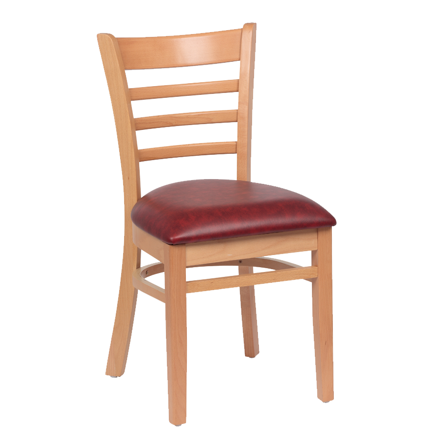 Royal Industries Ladder Back Cushion Seat Natural Finish Crimson Vinyl Side Chair
