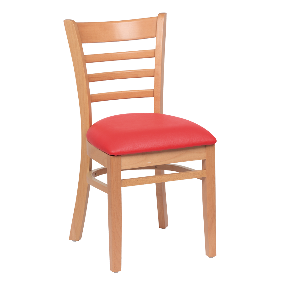 Royal Industries Ladder Back Cushion Seat Natural Finish Red Vinyl Side Chair