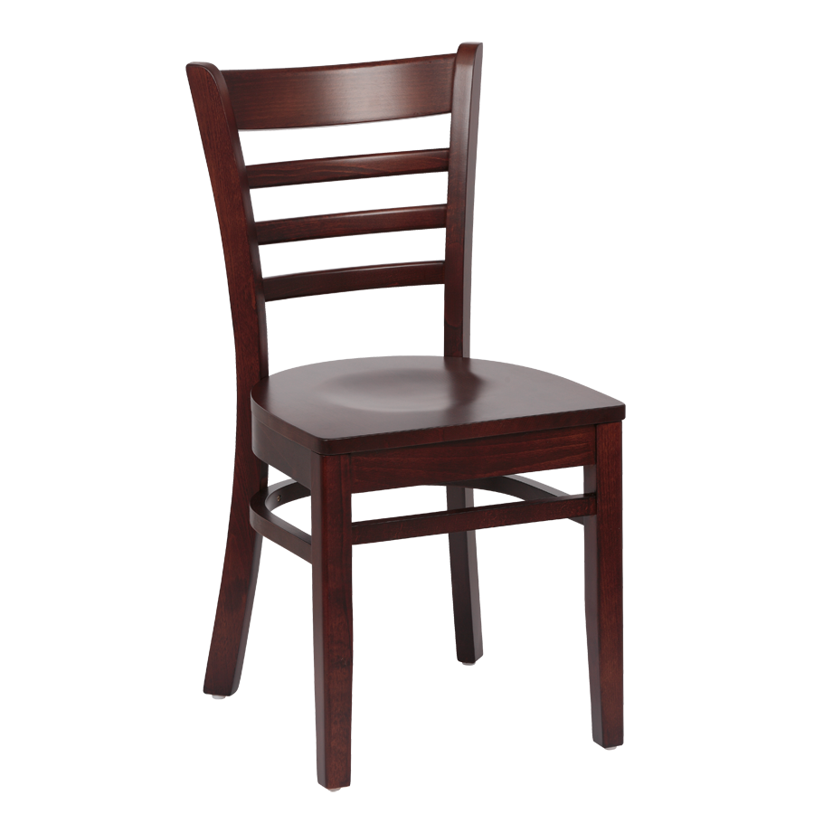 Royal Industries Ladder Back Walnut Finish Saddle Seat Side Chair
