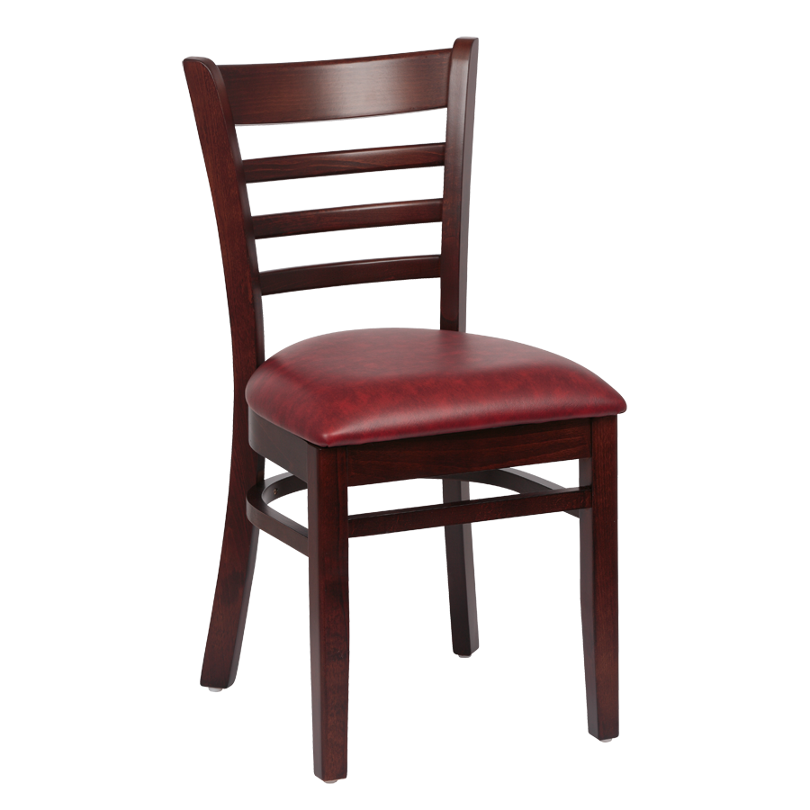 superior-equipment-supply - Royal Industries - Royal Industries Ladder Back Cushion Seat Walnut Finish Crimson Vinyl Side Chair