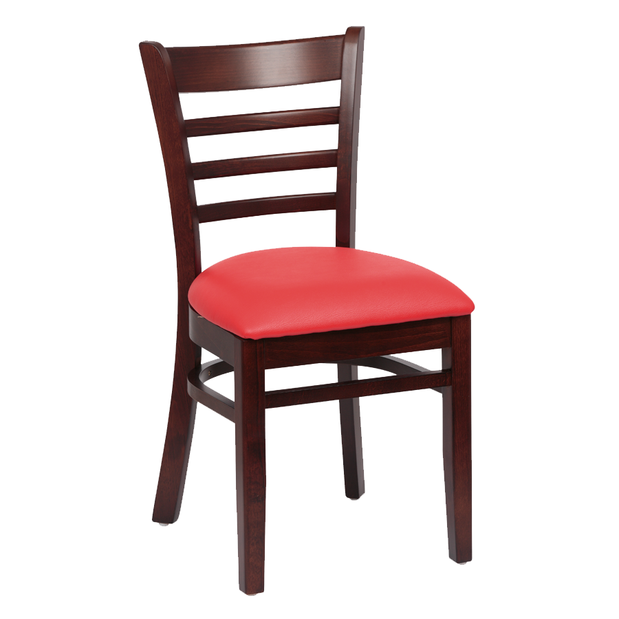 Royal Industries Ladder Back Cushion Seat Walnut Finish Red Vinyl Side Chair