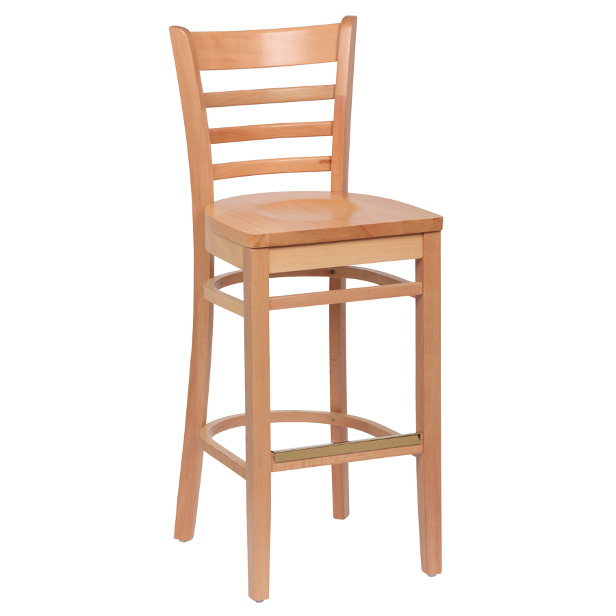 "Royal Industries Ladder Back Natural Finish Wood Bar Stool 17""L x 16-1/2""W x 43-3/8""H"