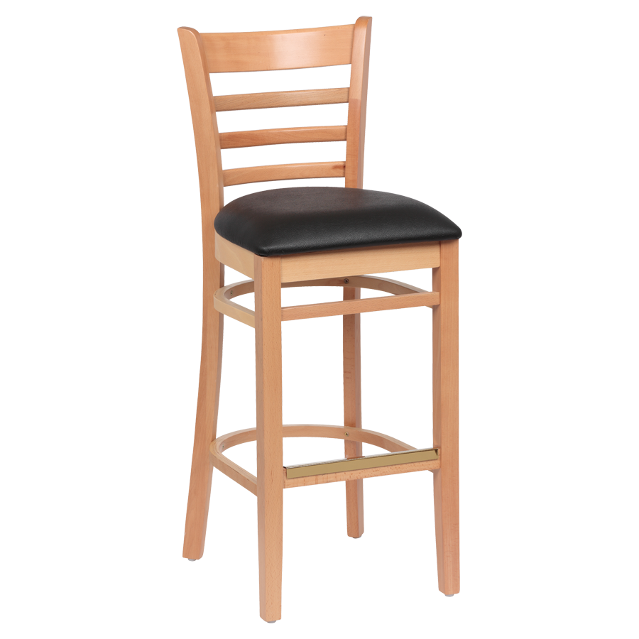superior-equipment-supply - Royal Industries - Royal Industries Ladder Back Natural Finish Wood Bar Stool Black Vinyl Cushion Seat