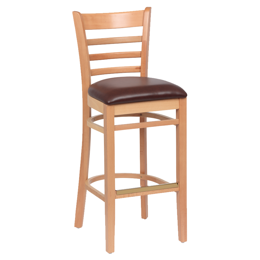superior-equipment-supply - Royal Industries - Royal Industries Ladder Back Natural Finish Wood Bar Stool Brown Vinyl Cushion Seat