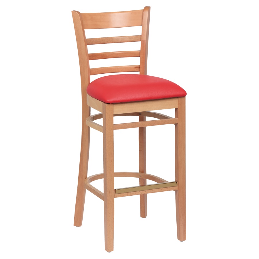 superior-equipment-supply - Royal Industries - Royal Industries Ladder Back Natural Finish Wood Bar Stool Crimson Red Cushion Seat