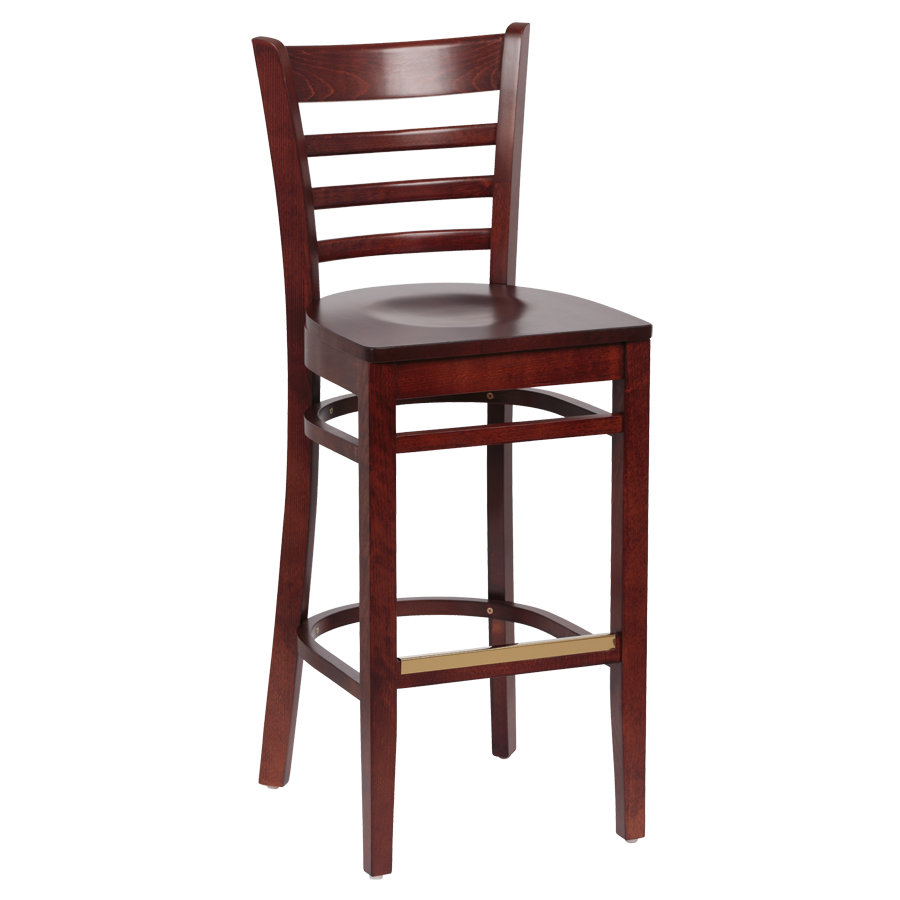 superior-equipment-supply - Royal Industries - Royal Industries Ladder Back Walnut Finish Wood Bar Stool