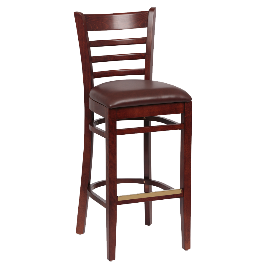 superior-equipment-supply - Royal Industries - Royal Industries Ladder Back Walnut Finish Wood Bar Stool Brown Vinyl Cushion Seat